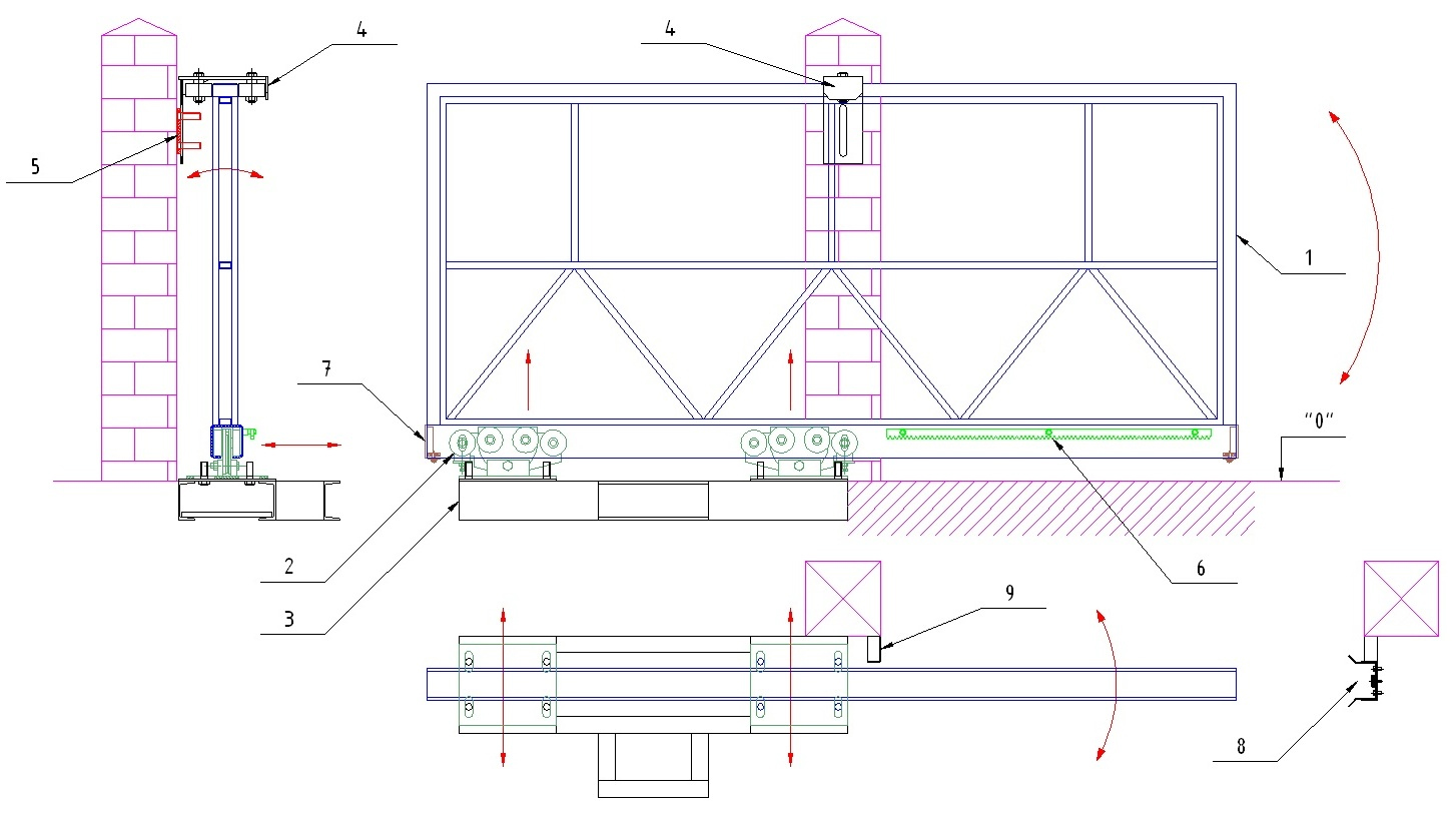 Откатные ворота своими руками : чертежи, схемы, эскизы конструкций 54